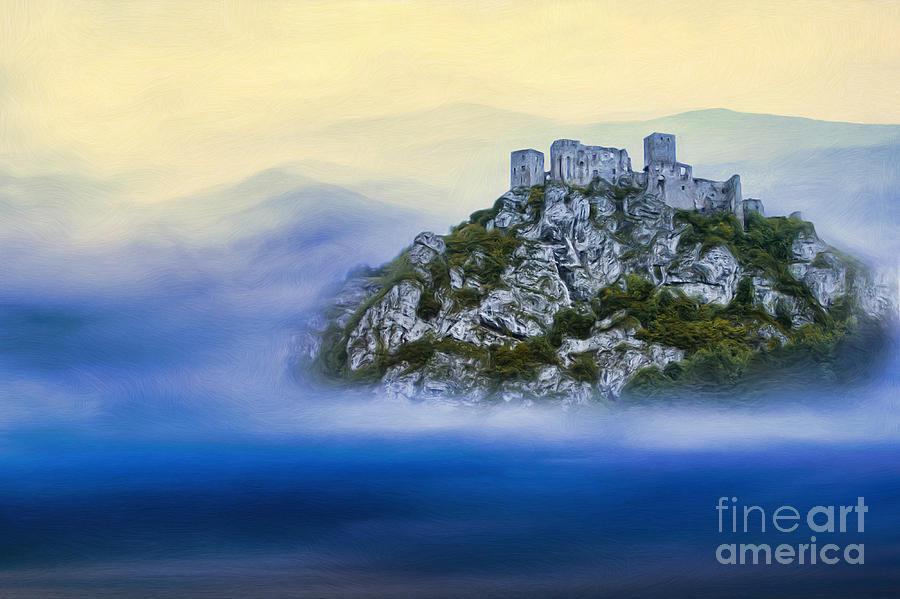Martin Dzurjanik Painting - Castle In The Air V. - Strecno Castle by Martin Dzurjanik