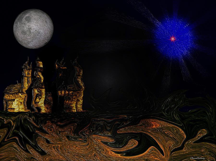 Castle Digital Art - Castle In The Night by Ramon Martinez