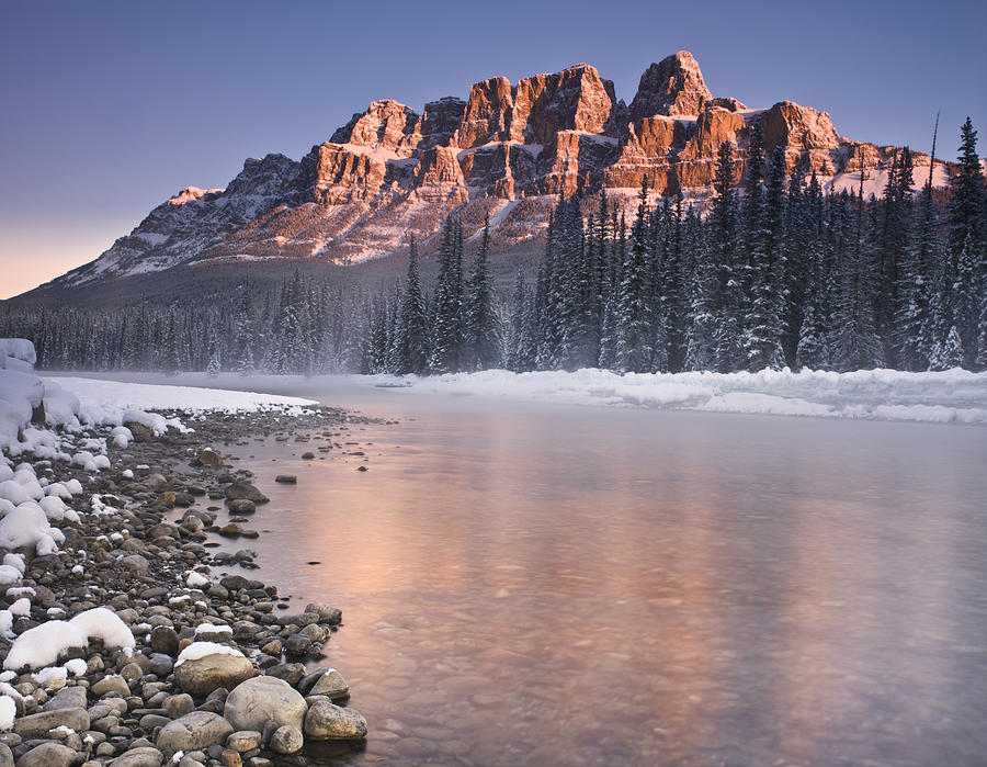 Castle Mountain Photograph - Castle Mountain And The Bow River by Richard Berry