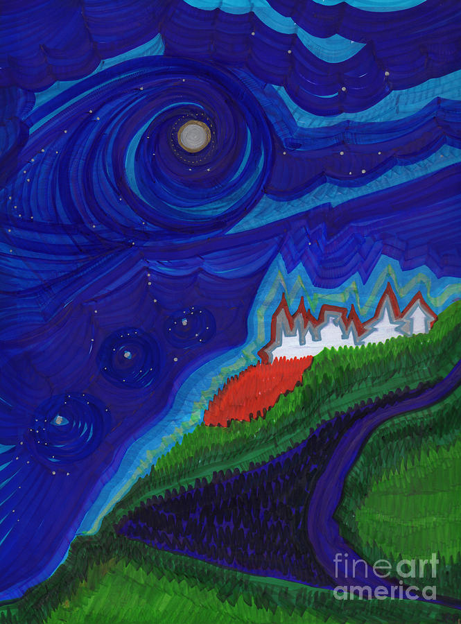 First Star Drawing - Castle On The Cliff By Jrr by First Star Art