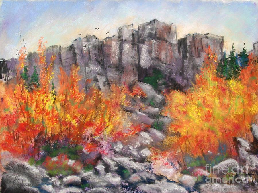 Landscape Pastel - Castle Rock by Bruce Schrader