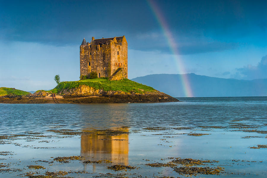 Argyll And Bute Photograph - Castle Stalker Rainbow by David Ross
