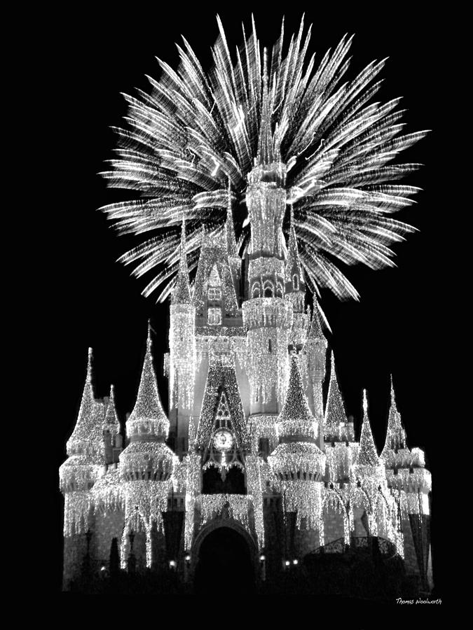 Castle With Fireworks In Black And White Walt Disney World