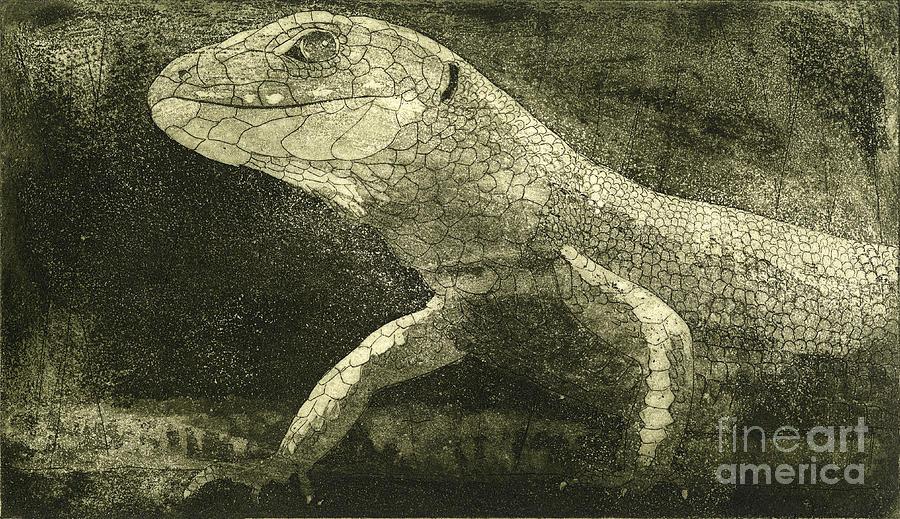casual meeting Reptile Viviparous Lizard  Lacerta vivipara Painting