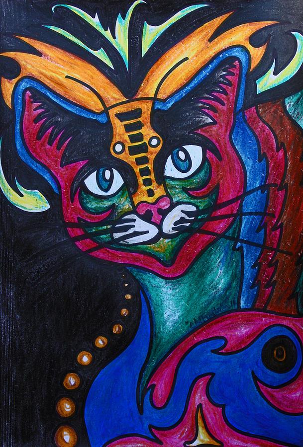 Cat Drawing - Cat 2 by Carol Tsiatsios