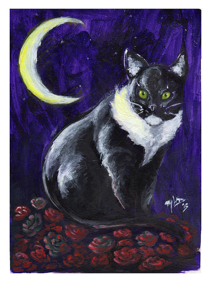 Moon Painting - Cat And Roses by Miguel Karlo Dominado
