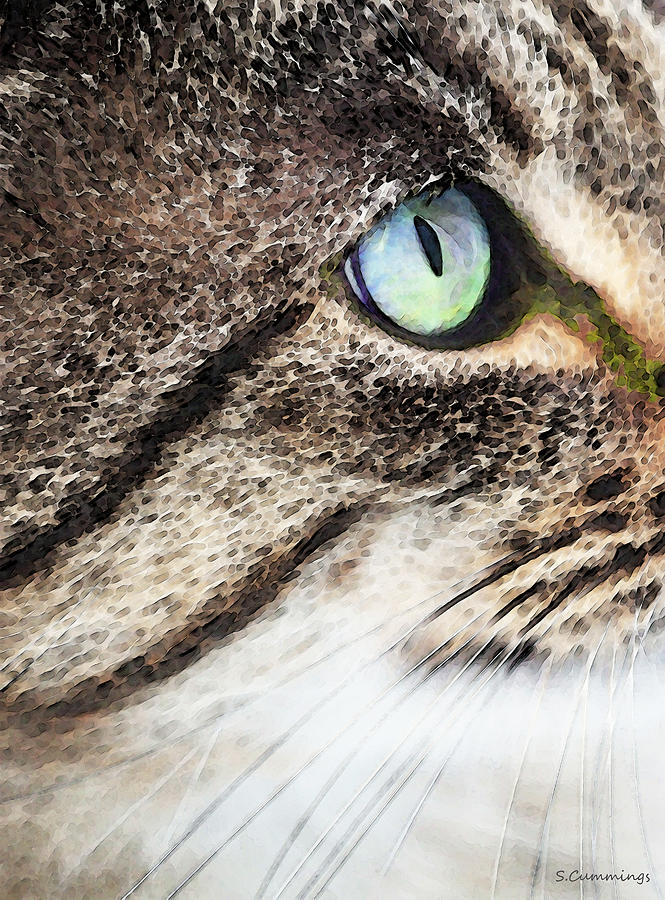 Cat Painting - Cat Art - Looking For You by Sharon Cummings