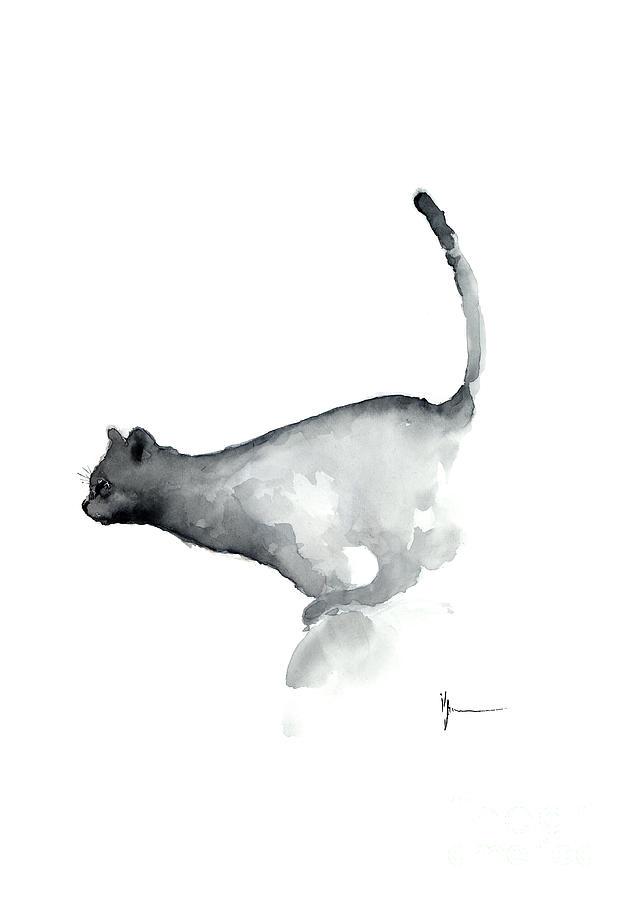 Black Cat Tail Art Print Watercolor Painting