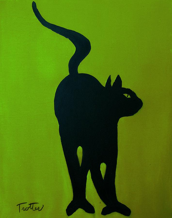 Cat Dance In Green Painting by Patrick Trotter