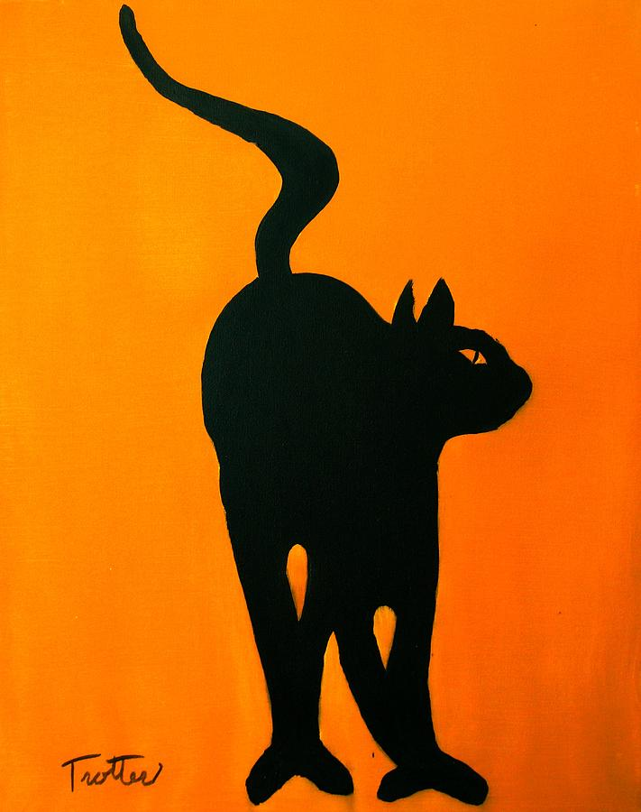 Cat Painting - Cat Dance In Orange by Patrick Trotter
