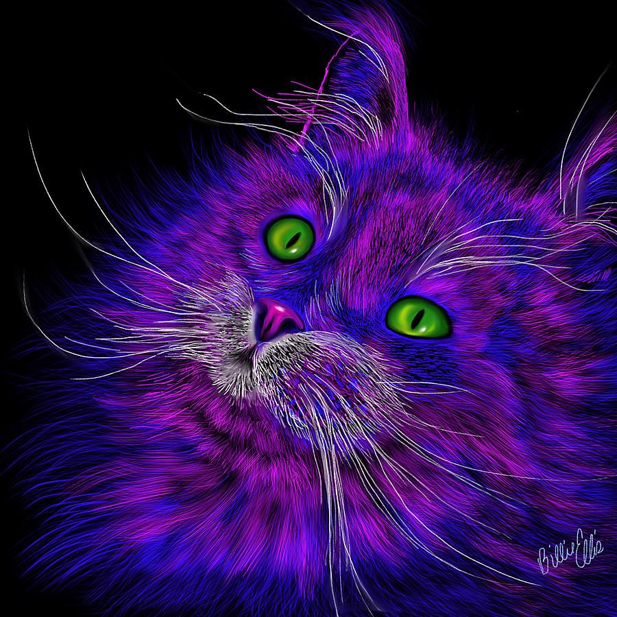 Cat Digital Art - Cat Electric by Billie Jo Ellis