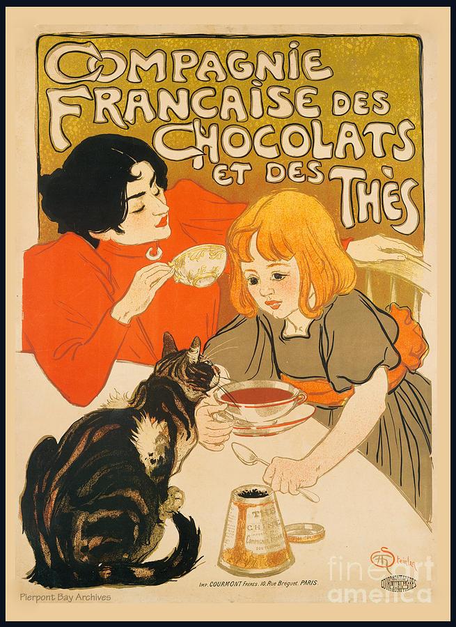 Cat Enjoys Chocolates And Tea Digital Art by Pierpont Bay Archives