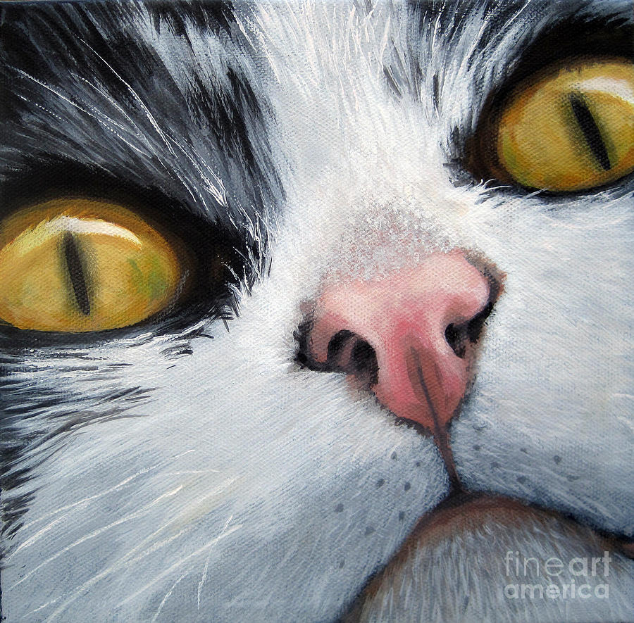 Cat eyes painting by linda apple for Cat paintings on canvas