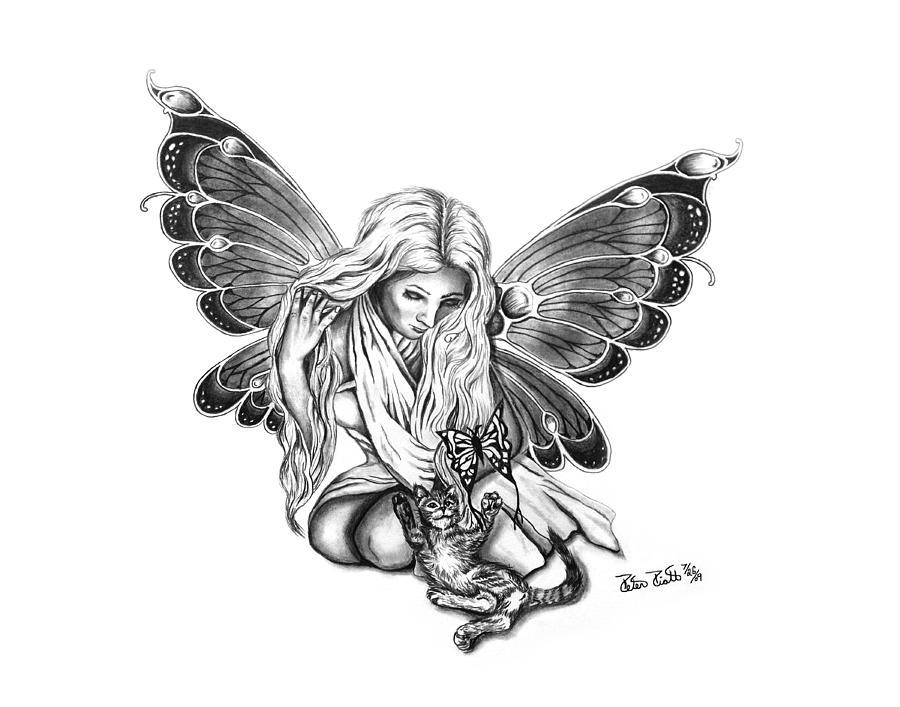 Butterfly Drawing - Cat Fairy  by Peter Piatt