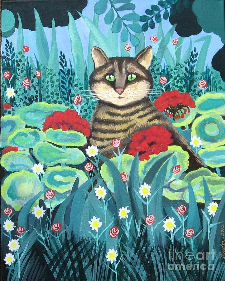 Cat Painting - Cat Hiding In The Rainforest by J Linder