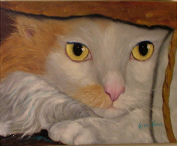 Cats Painting - Cat In A Bag by  Kathie Kasper