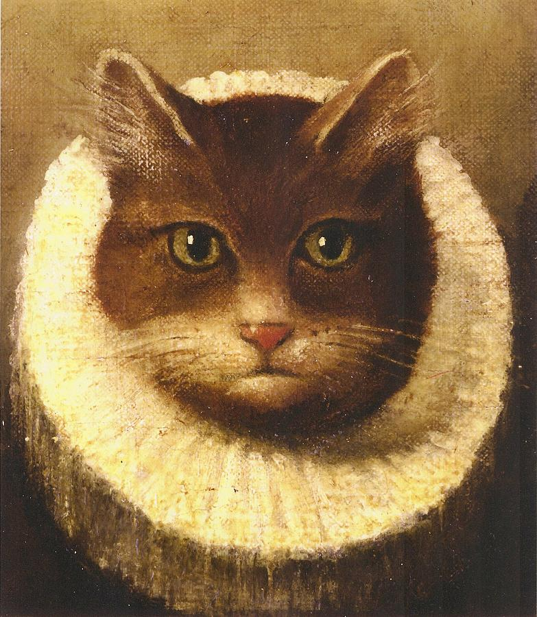Cat In A Ruff Painting By Vintage Art