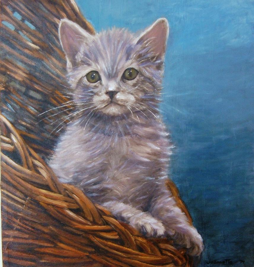 Cat in Basket by Jeannette Tramontano