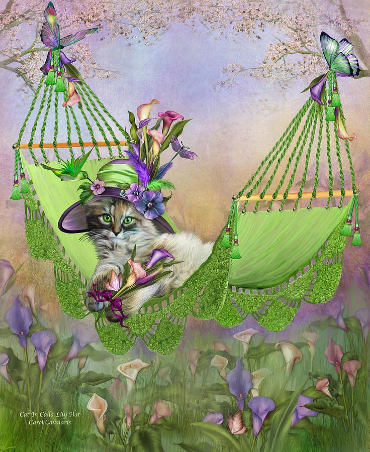Cat In Calla Lily Hat Mixed Media By Carol Cavalaris