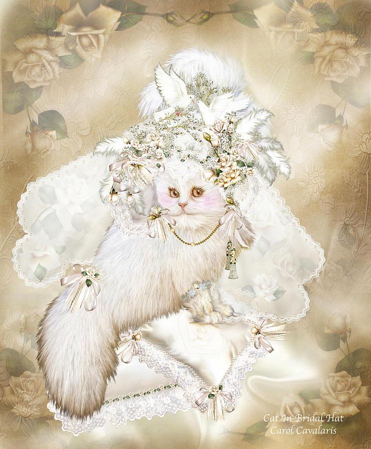 Cat Mixed Media - Cat In Fancy Bridal Hat by Carol Cavalaris