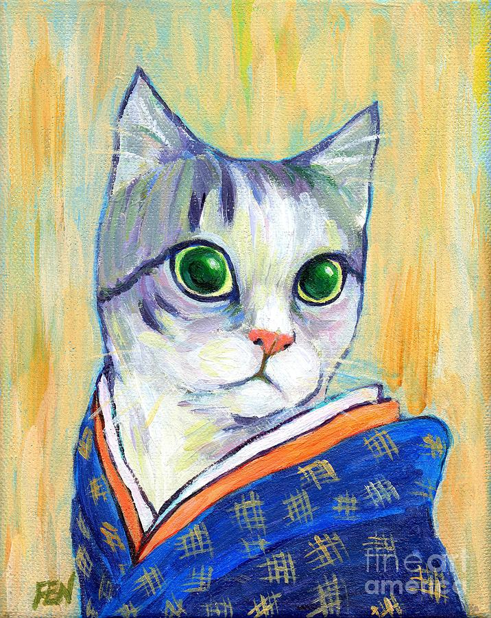 Feline Painting - cat in kimono of Ukiyoe style by Jingfen Hwu