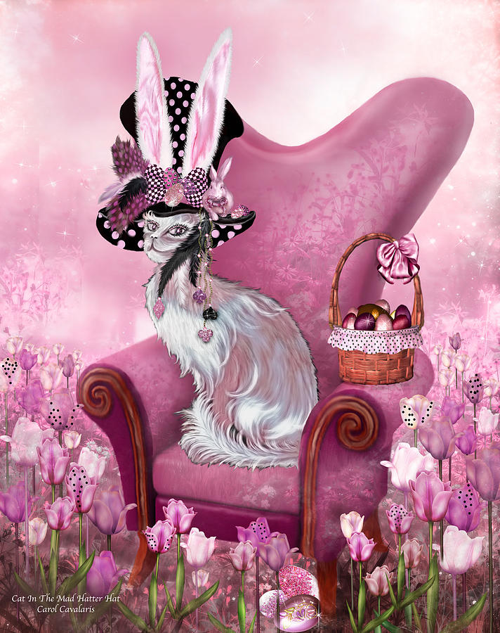 Cat In Mad Hatter Hat Mixed Media By Carol Cavalaris