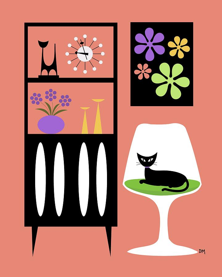 Mid Century Modern Digital Art - Cat In Pink Room by Donna Mibus