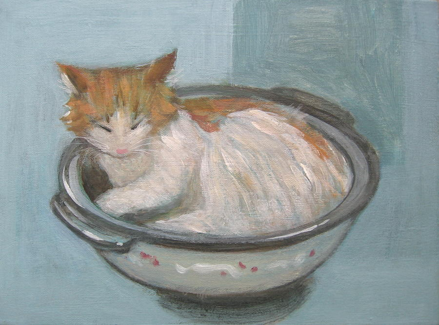 Cat Painting - Cat In Casserole  by Kazumi Whitemoon