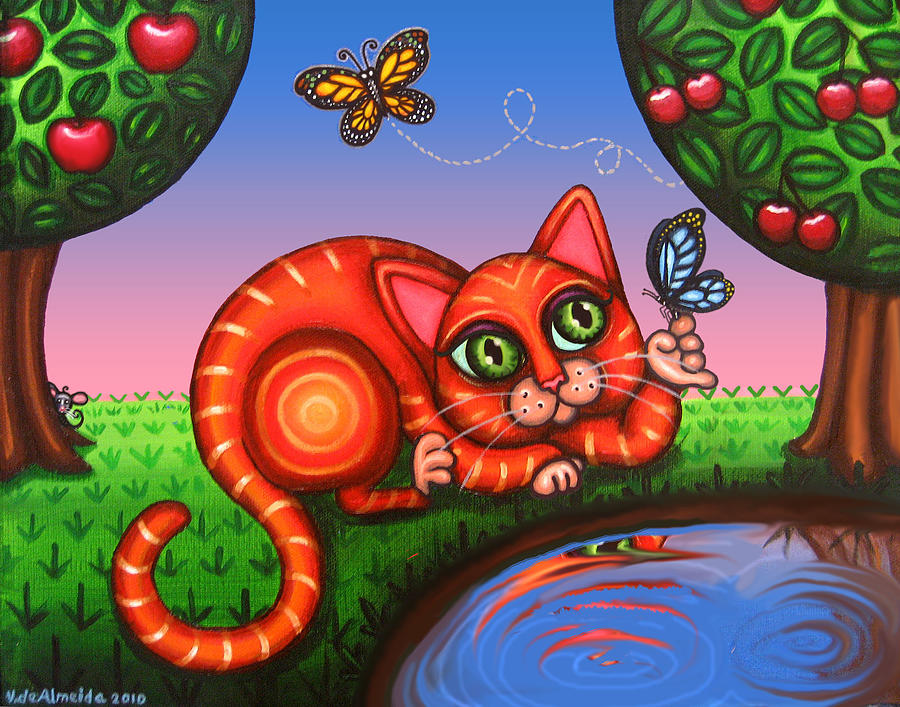 Cat Painting - Cat In Reflection by Victoria De Almeida