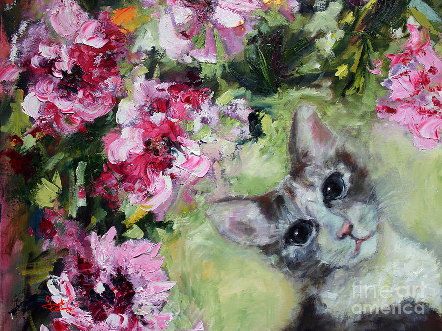 Cat in the Peonies  Painting by Ginette Callaway