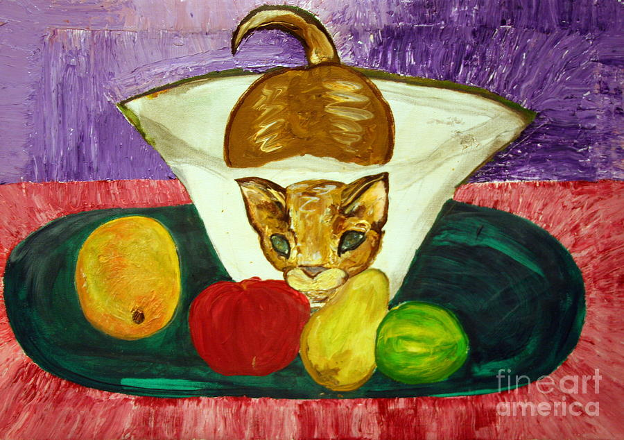 Cat In Vase With Fruits In Tray Painting By Kalikata Mbula