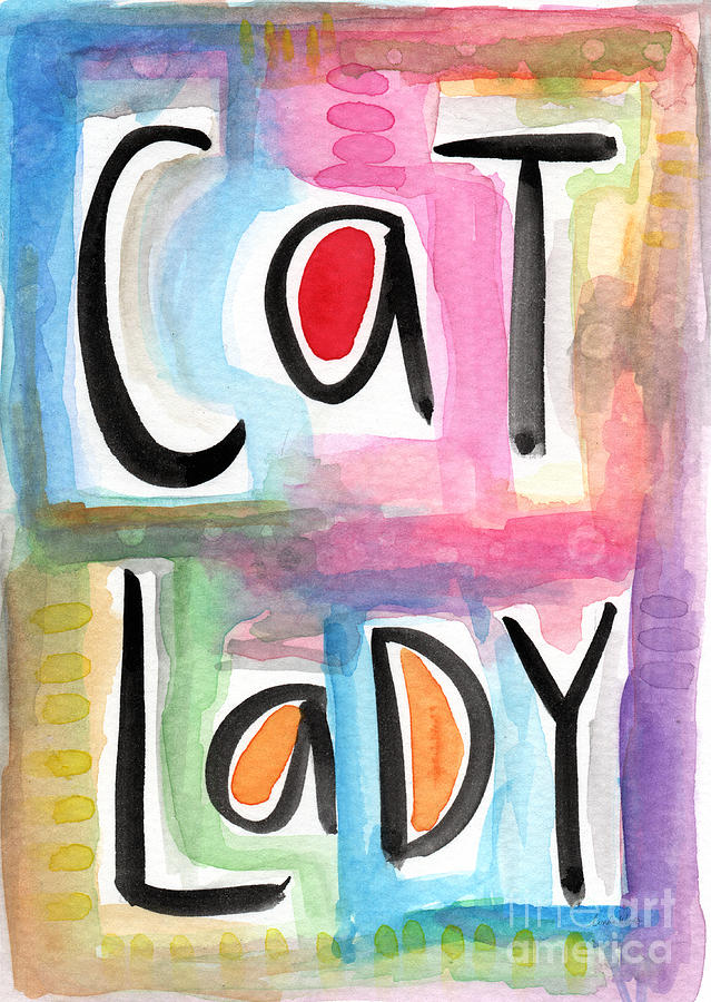 Cat Lady Painting - Cat Lady by Linda Woods