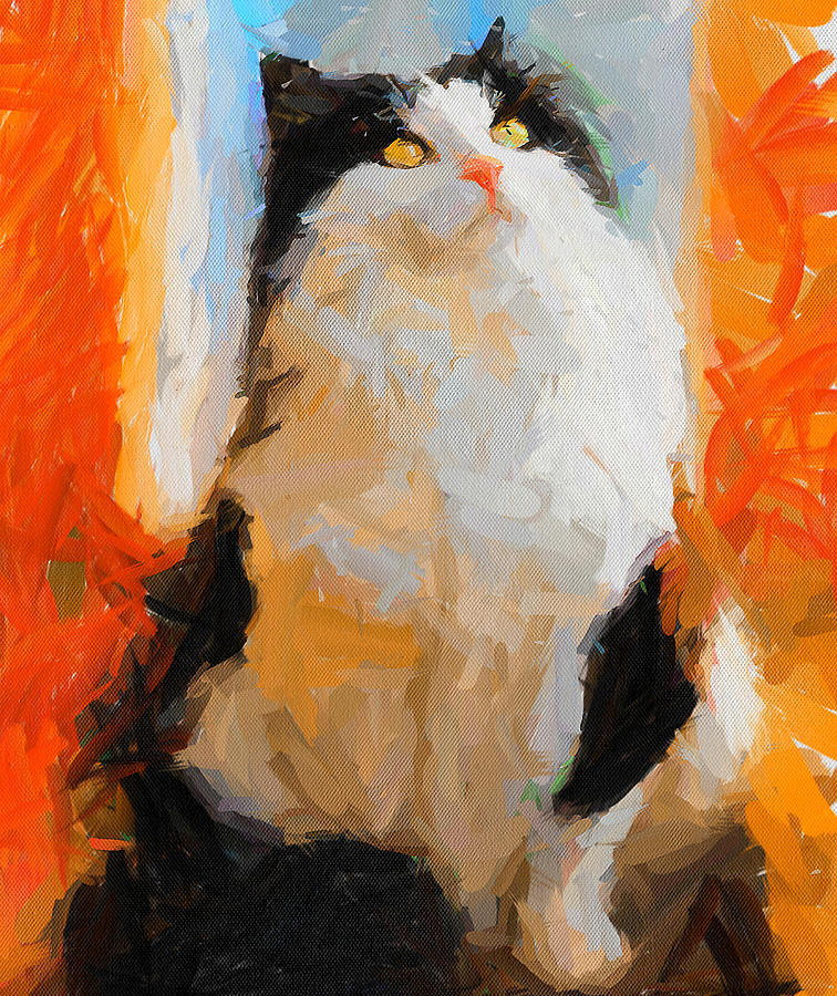 Cat Digital Art - Cat Looking Up by Yury Malkov