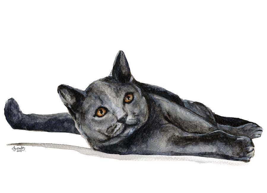 Cat Painting - Cat Lying/stirred But Not Shaken by Carlo Ghirardelli