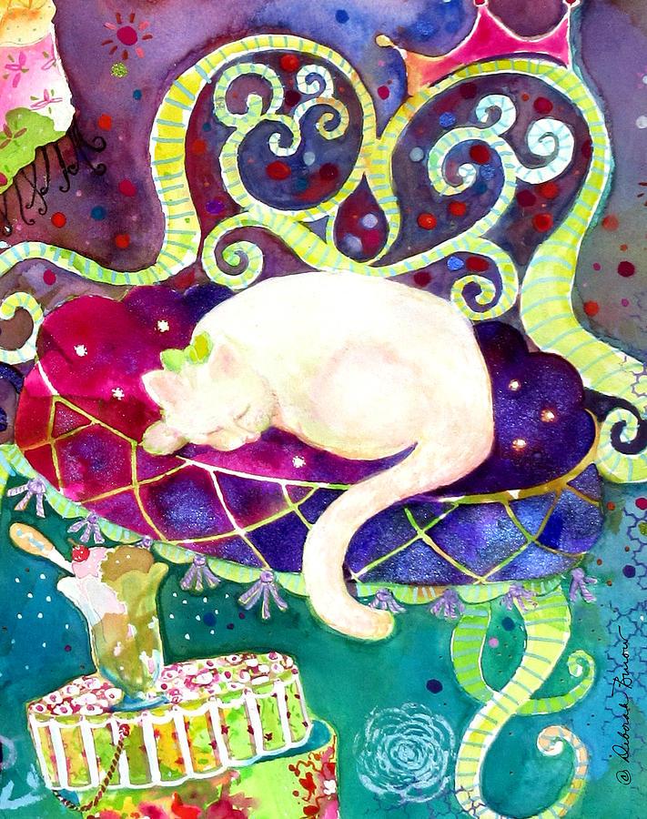 Cat Painting - Cat N Ice Cream by Deborah Burow