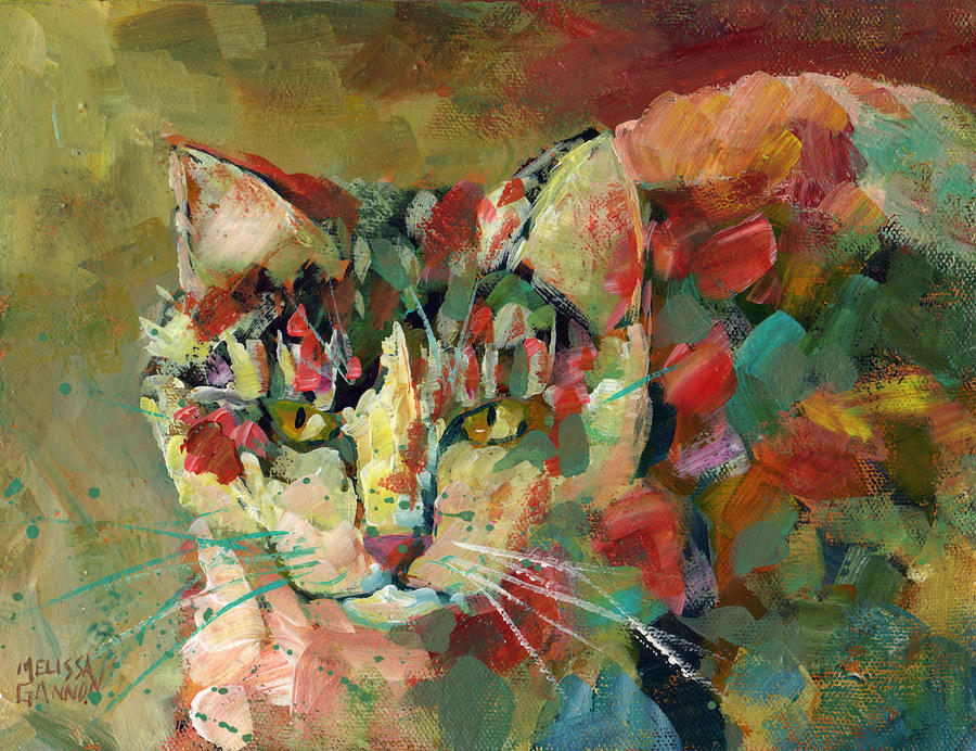Cat Painting - Cat of Many Colors by Melissa Gannon