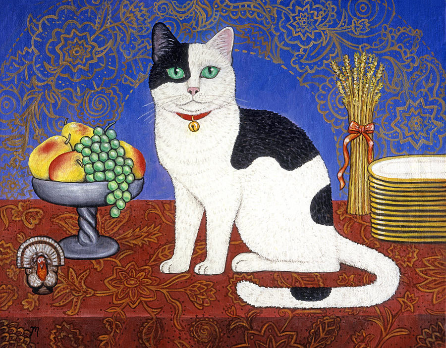 Cat Painting - Cat on Thanksgiving Table by Linda Mears