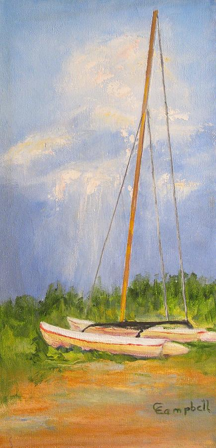 Boat Painting - Cat on the Beach by Cecelia Campbell