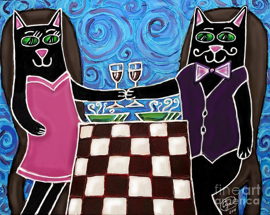 Cat Painting - Cat Romance by Cynthia Snyder
