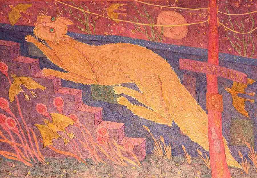 Cat Painting - Cat Running Up Stairs by Eleanor Arbeit