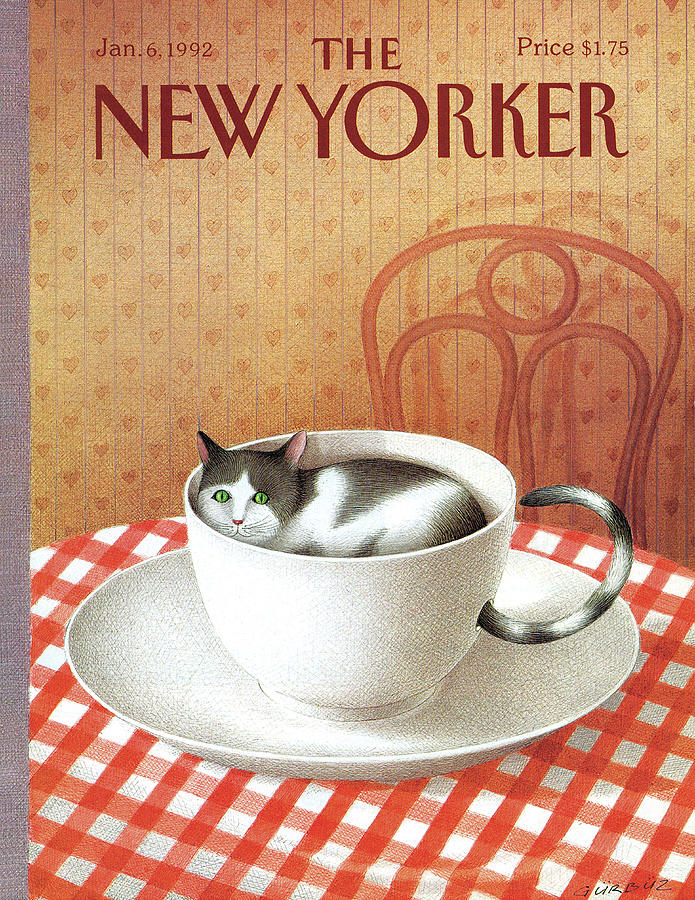 Cat Painting - New Yorker January 6, 1992 by Gurbuz Dogan Eksioglu