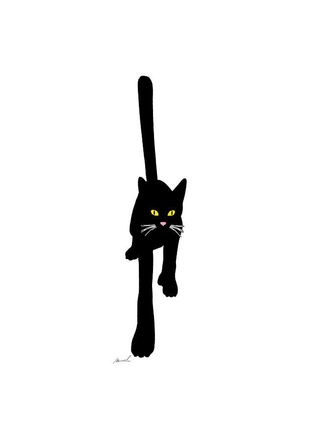 Black Digital Art - Cat Stepping Forward by The Art of Marsha Charlebois