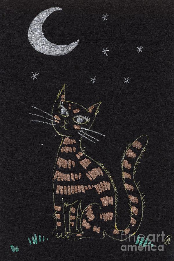 Cat Drawing - Cat Under The Moonlight by Angel  Tarantella