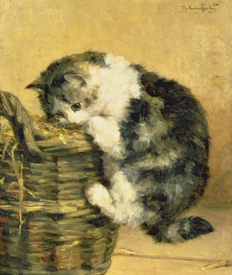 Cat Painting - Cat With A Basket by Charles Van Den Eycken