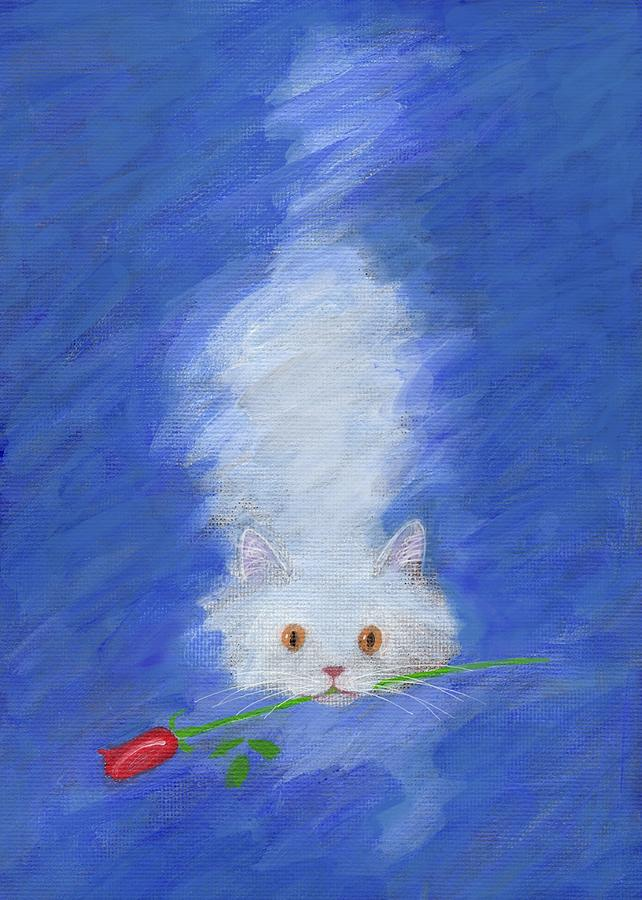 Cat with a Rose by Kazumi Whitemoon