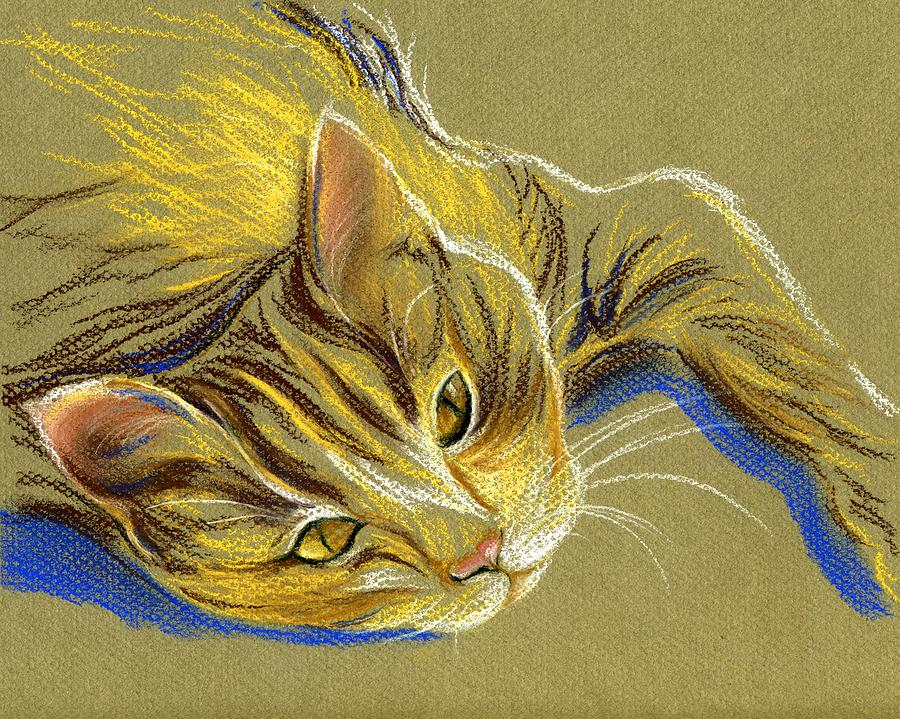 Cat Pastel - Cat With Gold Eyes by MM Anderson