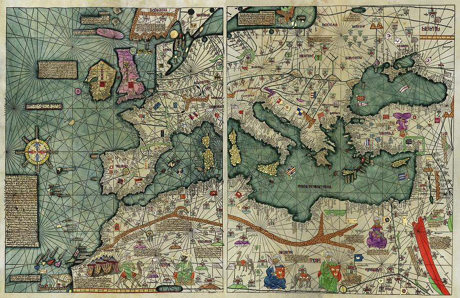 Catalan Atlas Photograph - Catalan Atlas by Library Of Congress/science Photo Library
