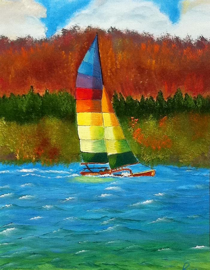 Sailing Painting - Catamaran Sailing by Rossana Kelton