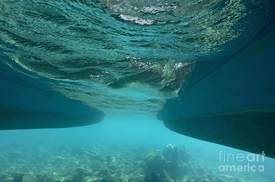 Exploration Photograph - Catamarans Hull Underwater by Sami Sarkis