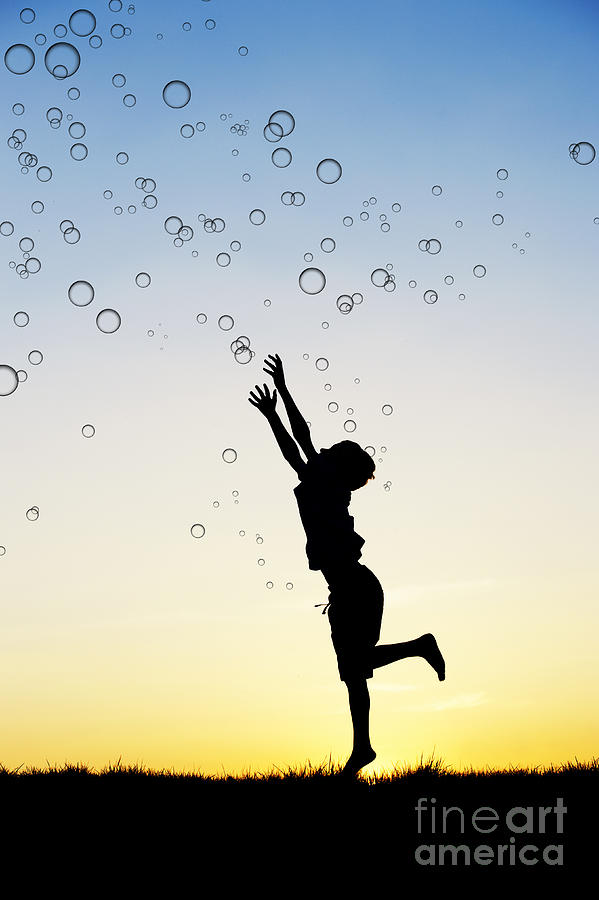 Silhouette Photograph - Catching Bubbles by Tim Gainey